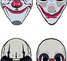 Payday 2 Masks Vector by Itchytoenail