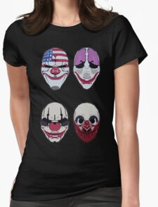 Payday 2 Masks Vector Womens Fitted T-Shirt