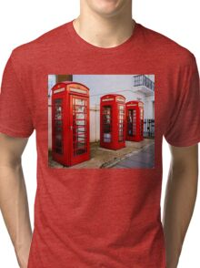 Red Telephone Booths London Tri-blend T-Shirt