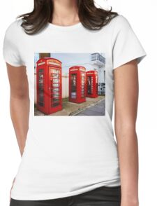 Red Telephone Booths London Womens Fitted T-Shirt
