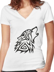 Tribal Wolf Howl Women's Fitted V-Neck T-Shirt