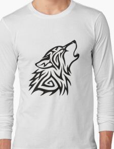 Tribal Wolf Howl Long Sleeve T-Shirt