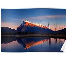 Mount Rundle Sunset, Vermillion lakes, Banff National Park, BC,  Canada Poster