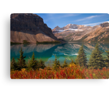 Bow Lake reflection in Fall, Icefields Parkway National Park, Alberta, Canada Metal Print