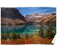 Bow Lake reflection in Fall, Icefields Parkway National Park, Alberta, Canada Poster