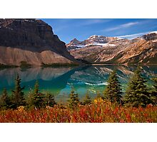 Bow Lake reflection in Fall, Icefields Parkway National Park, Alberta, Canada Photographic Print