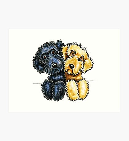 Black Yellow Labradoodles Lined Up Art Print