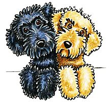 Black Yellow Labradoodles Lined Up by offleashart