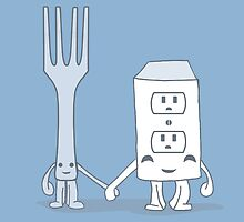 The Cutest Couple: Fork & Electrical Outlet by rebecca-miller