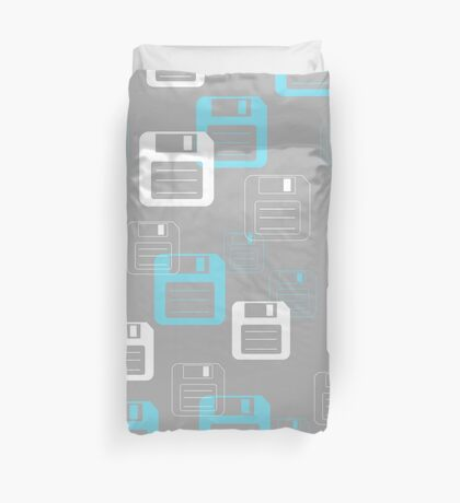 Floppy Disk Forever pattern in gray & blue Duvet Cover
