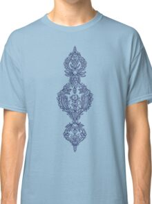 Navy Doodle on Grey Classic T-Shirt