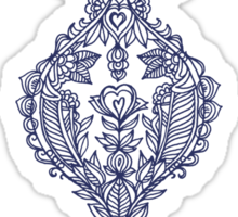 Navy Doodle on Grey Sticker