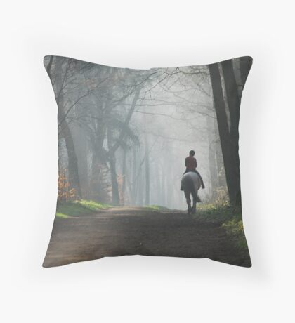 Riding out again on a misty morning Throw Pillow