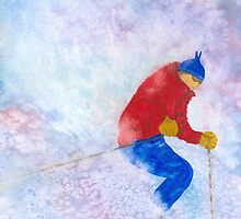 Skier in Powder  by Roseann Meserve
