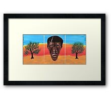 Triptych African Mask Framed Print