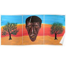 Triptych African Mask Poster