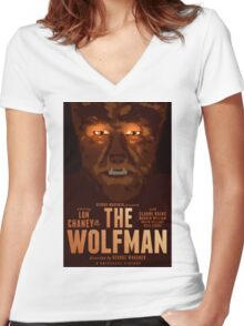 The Wolfman 1941 alternative movie poster Women's Fitted V-Neck T-Shirt