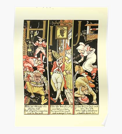 The Mother Hubbard Picture Book by Walter Crane - Plate 54 - The Absurd ABC - H I J Poster