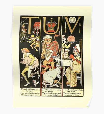 The Mother Hubbard Picture Book by Walter Crane - Plate 62 - The Absurd ABC - T U V Poster