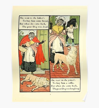 The Mother Hubbard Picture Book by Walter Crane - Plate 13 - Went to the Bakers, Joiners Poster