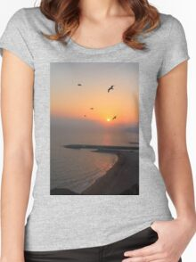 Beautiful Sunset And Sea Gulls Women's Fitted Scoop T-Shirt