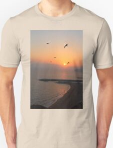 Beautiful Sunset And Sea Gulls Unisex T-Shirt