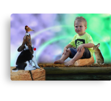 Little boy and his darling friends Canvas Print