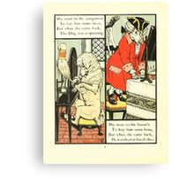 The Mother Hubbard Picture Book by Walter Crane - Plate 24 - Went to the Seamstress, Sempstress, Hosiers Canvas Print