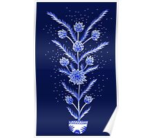Blue flowers in Chinese vase Poster