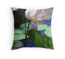Pink-tipped white lotus Throw Pillow
