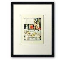 The Mother Hubbard Picture Book by Walter Crane - Plate 44 - Three Bears - She's In My Bed Framed Print