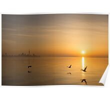 Wings at Sunrise - Toronto Skyline With Flying Geese Poster