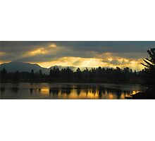 Early Morning Sun Rays on Mirror Lake, Lake Placid, Adirondack Mountains Photographic Print