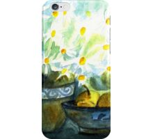 DAISIES WITH PEARS IN PAINTED POTTERY - STILL LIFE  iPhone Case/Skin