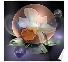 Daffodil in a water bubble Poster