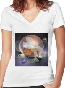Daffodil in a water bubble Women's Fitted V-Neck T-Shirt