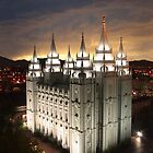 Salt Lake Temple Cloudy Sunset 20x30 by Ken Fortie