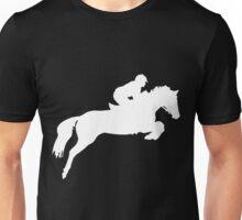 Horse Jumper Design in White Unisex T-Shirt