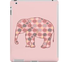 Pink, Gray and Yellow Patterned Elephant Silhouette iPad Case/Skin