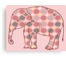 Pink, Gray and Yellow Patterned Elephant Silhouette Canvas Print