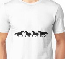 Galloping Horses Design #4 in Black Unisex T-Shirt