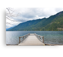 Dock on Lake Crescent, Washington State Canvas Print