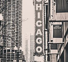 Theatre Sign in Chicago Black and White by Kadwell