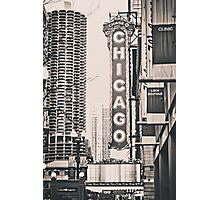 Theatre Sign in Chicago Black and White Photographic Print