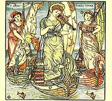 The Baby's Opera - A Book of Old Rhymes With New Dresses - by Walter Crane - 1900-23 I Saw Three Ships Plate by wetdryvac