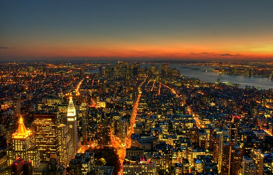 Manhattan Dusk by AJM Photography