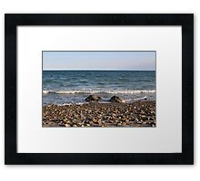 Rocky Shore with Waves Ocean View Framed Print