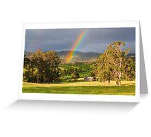 Rainbow over Orchard and Paddocks Greeting Card