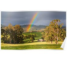 Rainbow over Orchard and Paddocks Poster