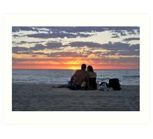 Romantic Couple At The Beach Art Print